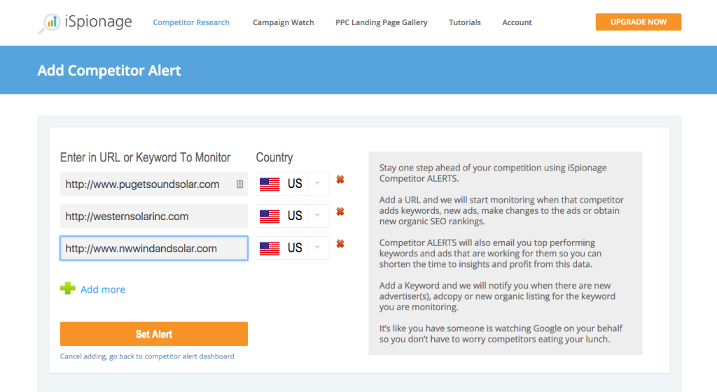 iSpionage 3 competitor alerts