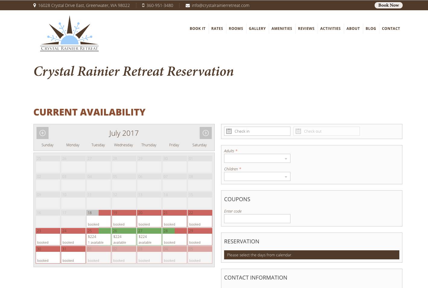 Crystal Rainier Retreat Reservations Page