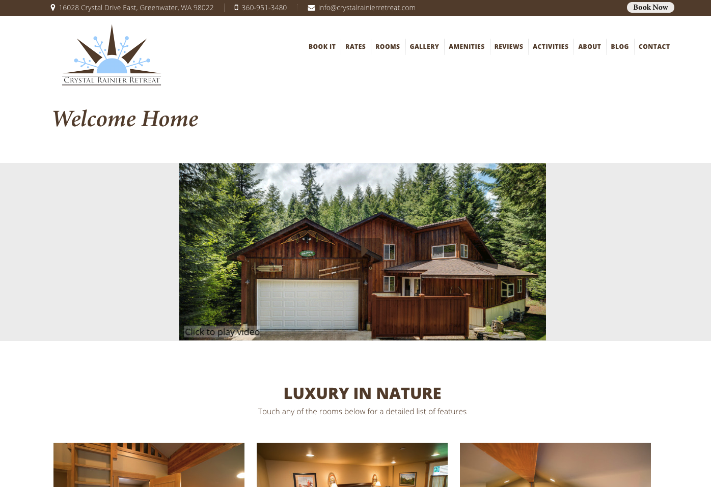 Crystal Rainier Retreat Home Page