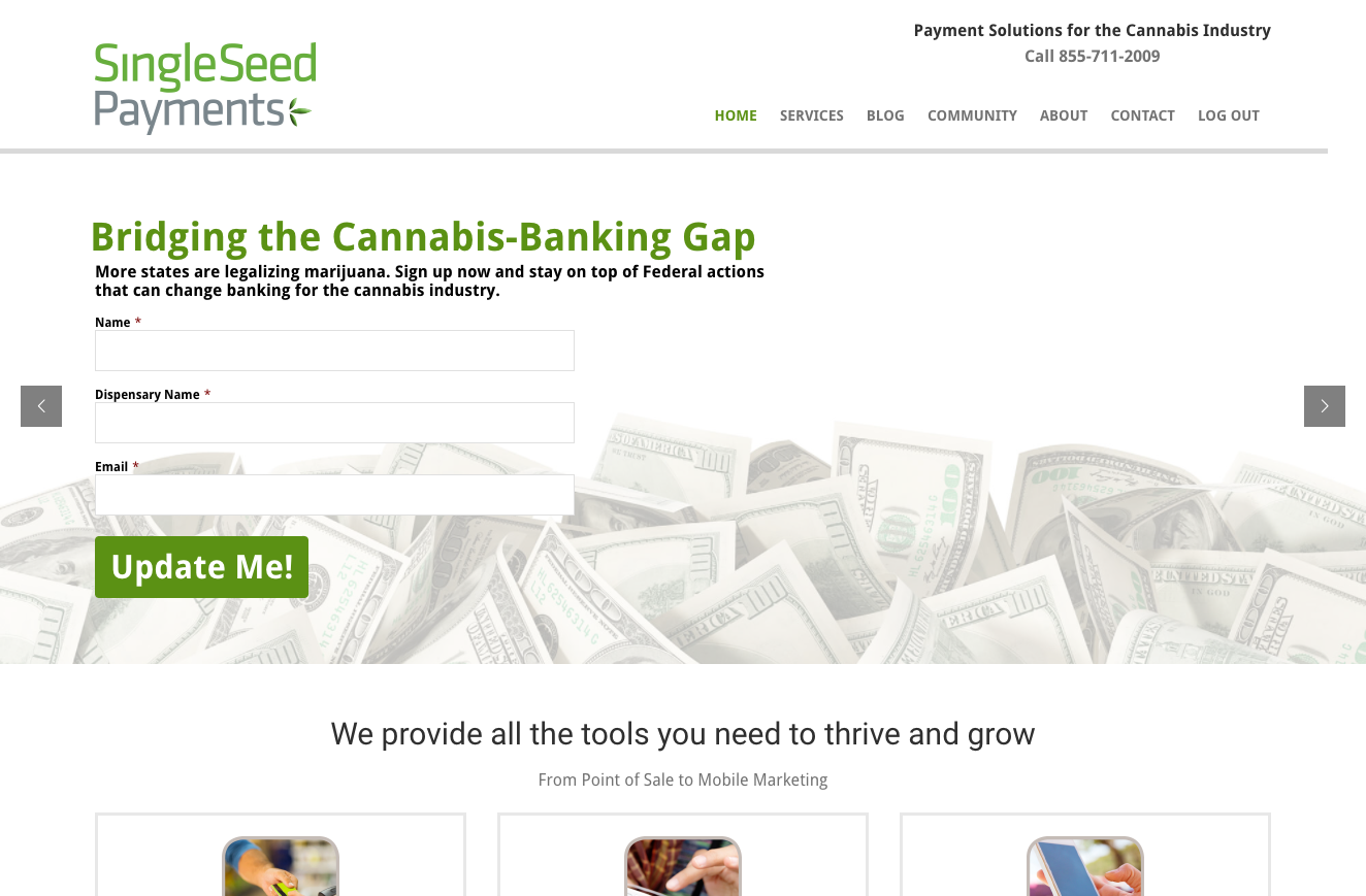 SingleSeed Payments website